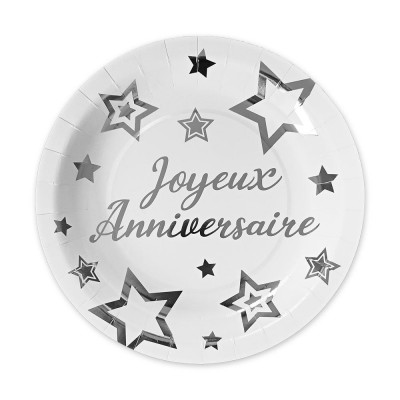 PACK 6 ASSIETTES PARTY CHIC ARGENT