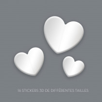 STICKERS 3D COEURS BLANC