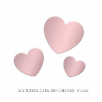 STICKERS 3D COEURS ROSE