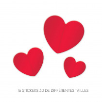 STICKERS 3D COEURS ROUGE/