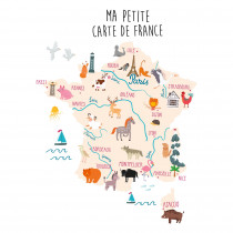 STICKER GM CARTE FRANCE ANIMAUX